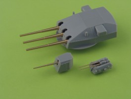 Master 1//350 IJN 12,7cm//50 3rd Year Type Barrels for Turrets Without Bla 5in